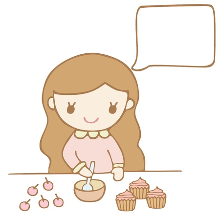Girl Baking A Cake White Bubble For Your Text.