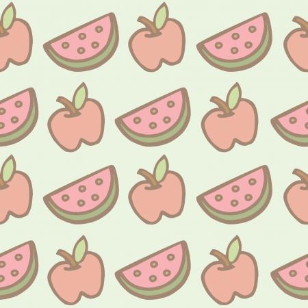 Seamless pattern of apple and watermelon cartoon Illustration