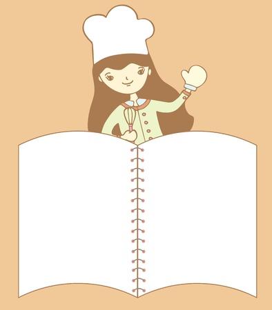 recipe book: Cute girl chef