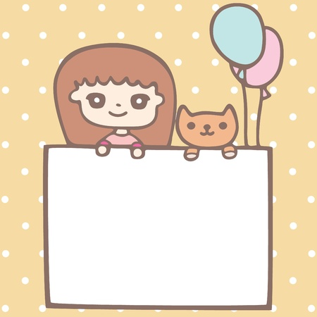 Cartoon cute girl and her puppy Illustration