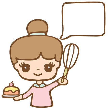 Girl Baking A Cake White Bubble For Your Text, Cartoon Illustration Illustration