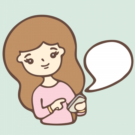 Cartoon Girl Using A Smart Phone