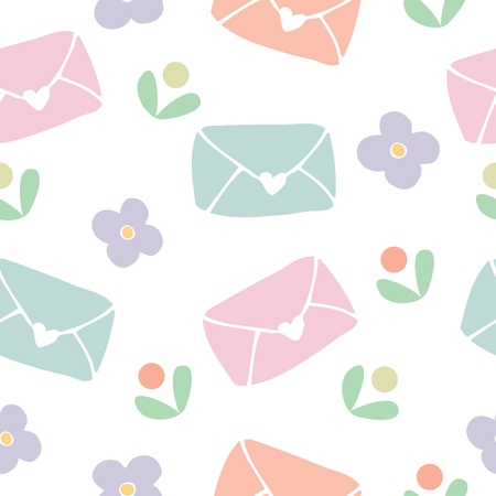 Seamless pattern background of love letter and flower