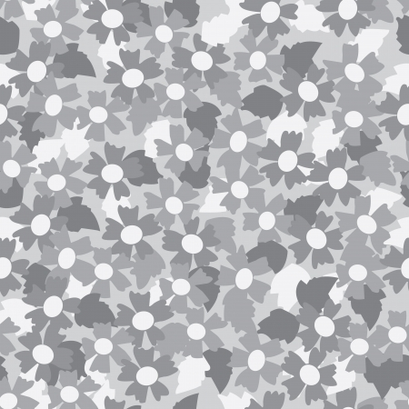 Seamless pattern of gray tone flower background. Illustration