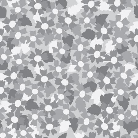 Seamless pattern of gray tone flower background. Illustration