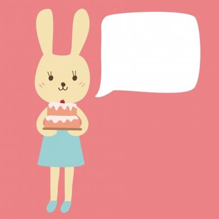 Rabbit Cartoon Holding A Birthday Cake