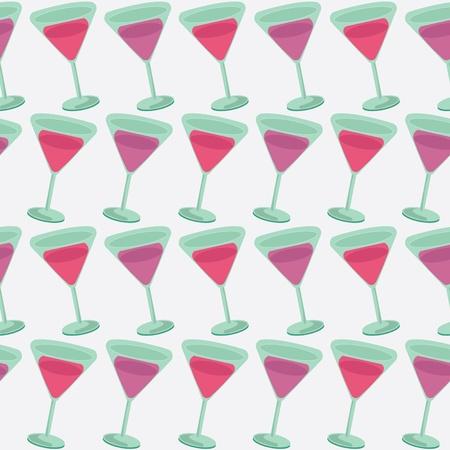 Seamless Pattern Of Red Wine Glass Illustration