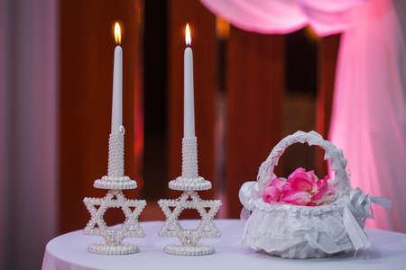 Jewish Chhuppah candles wedding