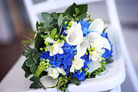 Wedding Bouquet of Flowers with Blue and White Petals. Stockfoto