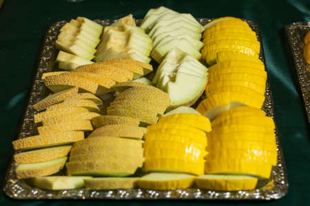 Fresh yellow melon fruit sliced Stock fotó