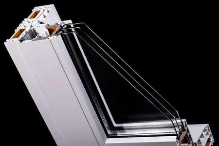Plastic window profile with triple glazing