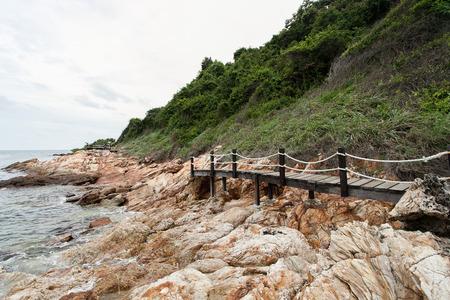 samet: Wooden bridge on beach at Khao Laem Ya  Mu Ko Samet Thailand