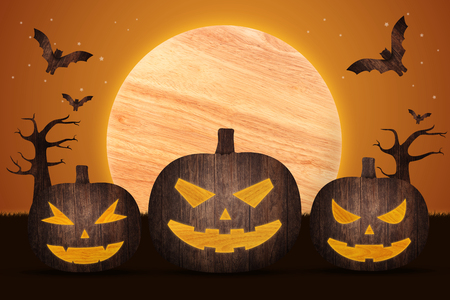 Pumpkins under the moonlight. Halloween background made from wood with decorations art style illustration Stock Photo