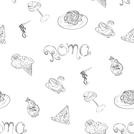 Roma Seamless Pattern. Food and travel concept. Stock Illustratie