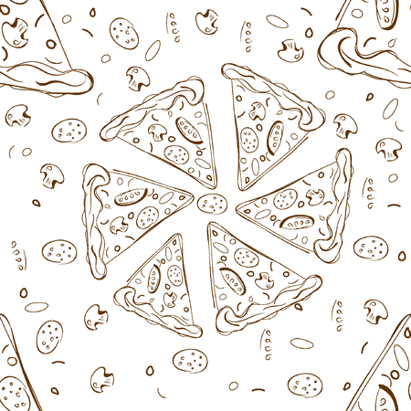 margherita: Pizza slice  seamless pattern. Suitable for corporate style pizzeria