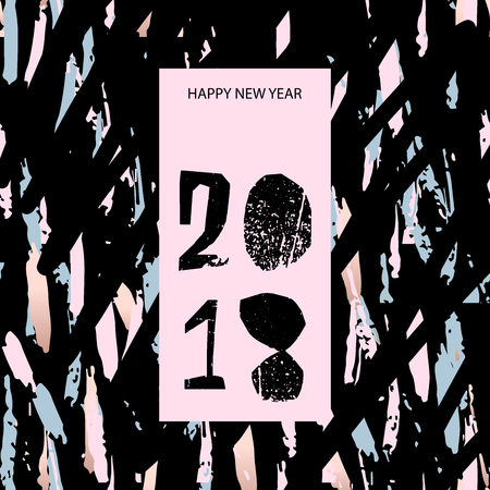 Unusual Creative Artistic Vector Background with hand drawn brush textures. Happy New Year Greeting card , poster, banner, brochure or invitation card. Contemporary abstract festive graphic design