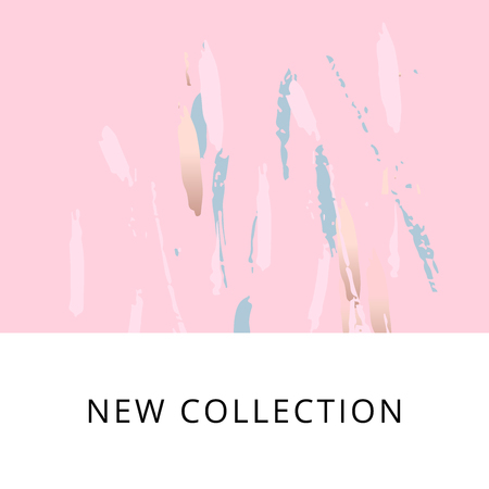 New Collection Fashion Header or Banner with Abstract Brush Smears in Pastel colors and gold.