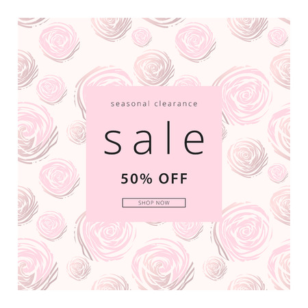 Gentle Trendy Card with Abstract rose flowers with gold elements. Elegant Vector Sale Banner. Vector