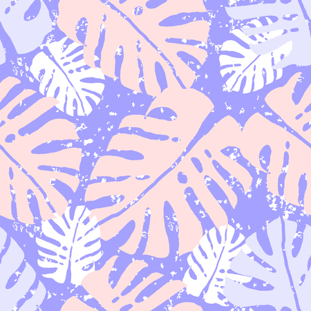 Tropical Monstera Leaves Seamless Pattern.