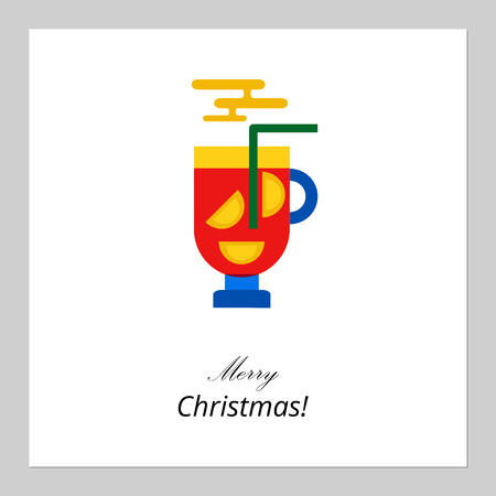 Merry Christmas, Happy New Year card design. Abstract flat xmas mug of mulled wine traditional winter holidays drink symbol. Great for greeting cards, postcards, invitation cards, gift tags. Vector illustration. Illustration