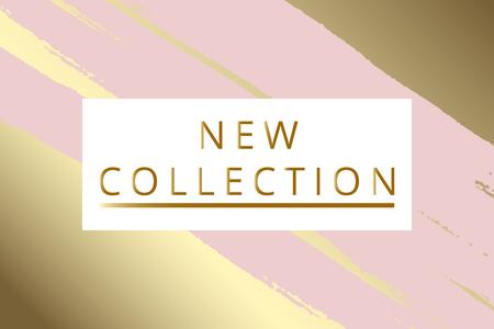 新しいコレクションファッションヘッダー。パステルに芸術的な手描きブラシテクスチャを持つゴールドエレガントなフレーム。広告、ソーシャル