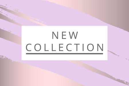 Modeheader der neuen Kollektion. Goldeleganter Rahmen mit künstlerischer Hand gezeichneter Bürstenbeschaffenheit im Pastell. Ideal für Werbung, Social Media, Web, Blog, Poster, Plakat, Broschüre, Einladung, Cover