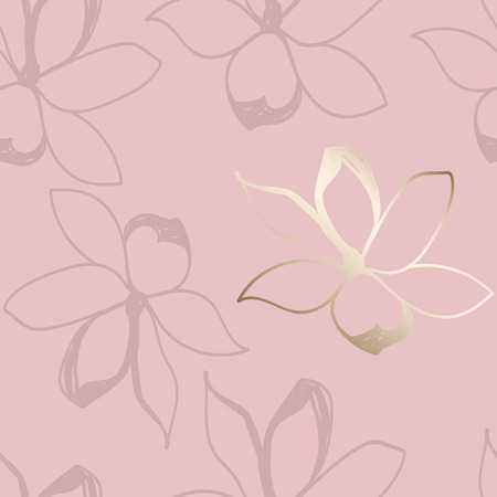 Floral seamless pattern. Pastel colors and gold. Stylized sketch jasmine or magnolia flowers. Great for fabric, wallpaper, wrapping paper, surface design, wedding invitation. Vector illustration.