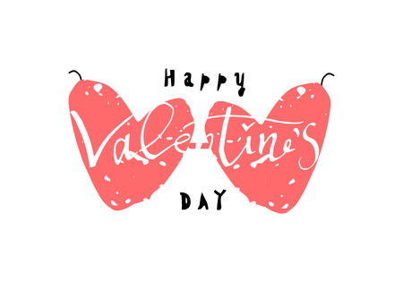 Abstract Calligraphy Hand Drawn Happy Valentine s Day Background. Trendy vector illustration of Saint Valentine s day Vettoriali