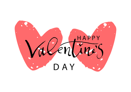 Calligraphie abstraite dessinés à la main Happy Valentine s Day Background. Illustration de vecteur tendance de la Saint-Valentin Vecteurs