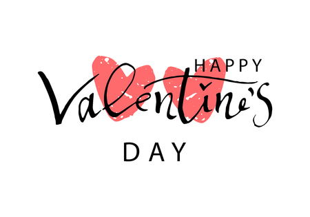 Abstract Calligraphy Hand Drawn Happy Valentine s Day Background. Trendy vector illustration of Saint Valentine s day Stock Illustratie