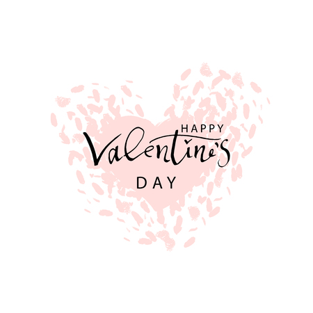 Abstract Calligraphy Hand Drawn Happy Valentine s Day Background. Trendy vector illustration of Saint Valentine s day Illustration
