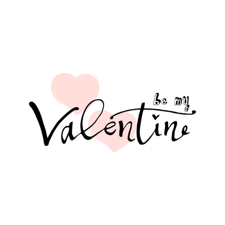 Abstract calligraphy hand drawn Happy Valentines Day background. Trendy vector illustration of Saint Valentines day.