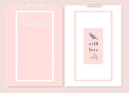 Romantic Collection of Cute Hand Drawn Abstract Valentine s Day Cards. Trendy backgrounds for greeting cards, headers, invitations, gift paper, posters, banners, brochures, web. 일러스트