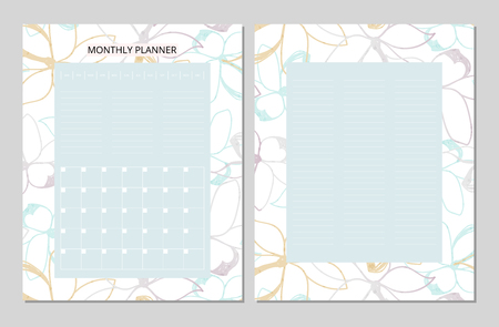 Universal Monthly Planner. Printable Template. Vector. Floral background in pastel soft colors. Outline doodle flowers Illustration
