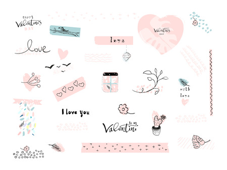 Valentine s Day Set of Lovely Abstract Hand Drawn decorative elements. Trendy doodle creative items design for greeting cards, stickers, posters, invitations, gift tags, wedding, birthday.