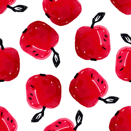 Hand Drawn Watercolor Red Beautiful Ripe Apples Seamless Pattern Design. Garden background for textile.