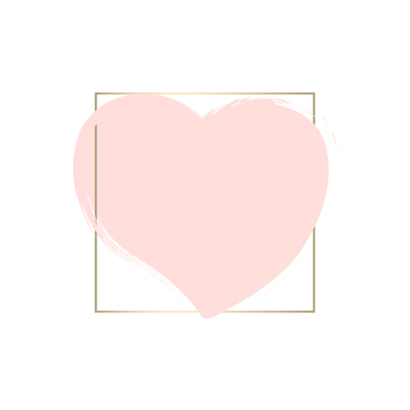 Romantic Hand Drawn Abstract Trendy Chic Style Pastel and Gold Framed Background with Brush Heart symbol. Happy Saint Valentine s Day, wedding, birthday, anniversary, invitations. Vector template