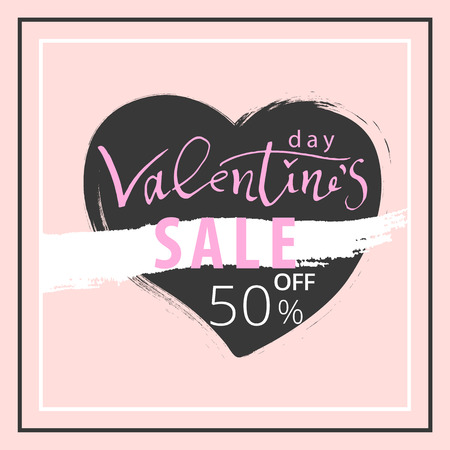 Valentine s Day Sale Banner. Trendy Romantic Elegant background for invitation cards, posters, greetings, wallpaper, social media, seasonal clearance. Illustration