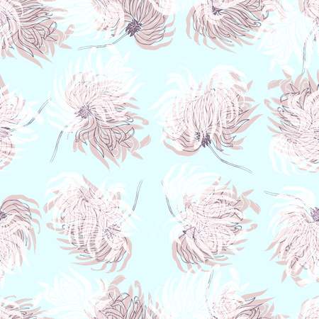 Dahlia Flower Seamless Pattern. Pastel pale light blue. Floral Background for textile, wallpaper, apparel, wrapping, packaging, wedding invitations, home decor.