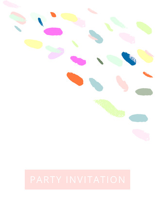 Creative Card with hand drawn confetti brush smears. Artistic background for greeting cards, invitations, wedding, headers, covers, brochures, birthday, anniversary, Valentine s Day. Vector