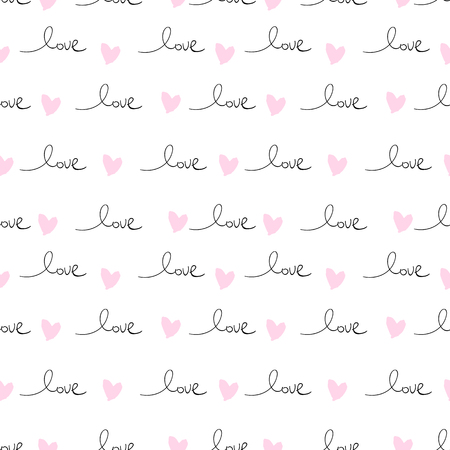 Romantic Seamless Pattern with hand written words Love and ink hearts on pink. Happy Valentine s Day concept vector illustration trendy design. Backdrop for wrapping paper, invitations, greeting cards