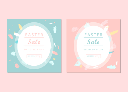 Trendy Easter Sale Banner, Unique Design with different hand drawn shapes and textures. Vector illustration.