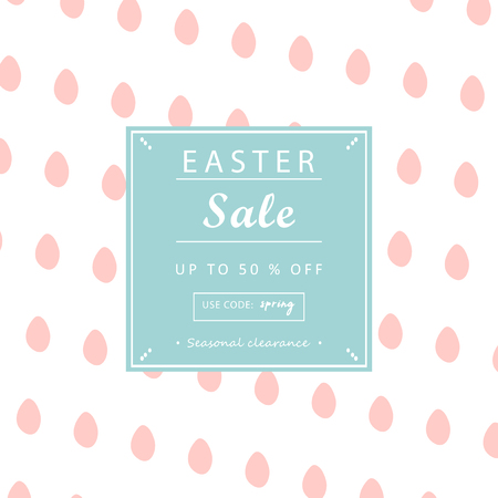 Trendy Easter Sale Banner Unique Design with different hand drawn shapes and textures. Cute social media backdrop for advertising, web, posters, invitations, greeting cards, birthday or anniversary. Ilustracja