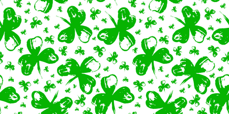 Happy St. Patrick's Day Holiday poster with hand drawn lettering and brush painted clover symbol. Irish green holiday party. Vector illustration. For banners, advertising, invitations, greeting card Illustration