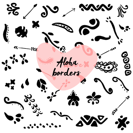 Cute Hand drawn unique collection of Aloha Dividers, Curls, Floral borders. Vector decorative elements for your design project. Ink brush symbols