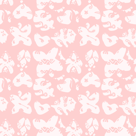 Cute Hand drawn unique Tropical Seamless Pattern. Vector decorative elements for your design project. Ink brush symbols Illustration