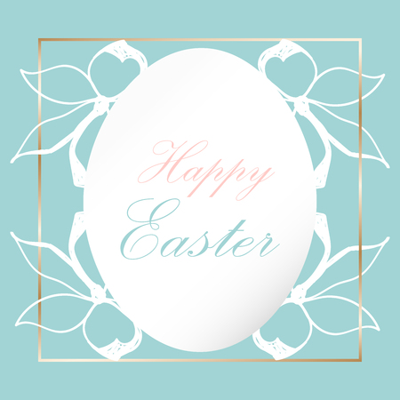 Beautiful Happy Easter Floral Greeting Card. Cute decorative background for wedding invitations, greeting cards, birthday, etc. Vector illustration.