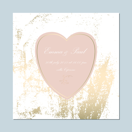 Pink, white and gold invitation card on a light blue background