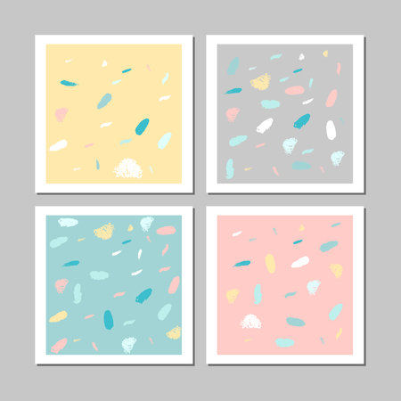 Set of artistic unusual pastel cards with simple hand drawn abstract textures. Creative modern colorful background. Contemporary art. Vector