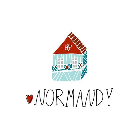 Normandy cartoon hand drawn illustration. Cute Travel concept
